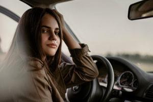 girl driver wheel